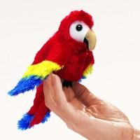 Folkmanis Fingerpuppe Vogel, mini Papagei 2723